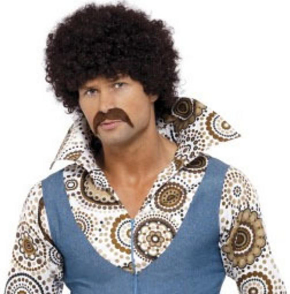 70s Disco Dude Brown Afro Wig Men S Fancy Dress Wigs Mega Fancy Dress