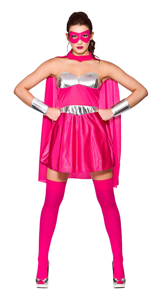 Sentinel Ladies Pink Hot Super Hero Costume Comic Womens Adult Superhero  Fancy Dress New