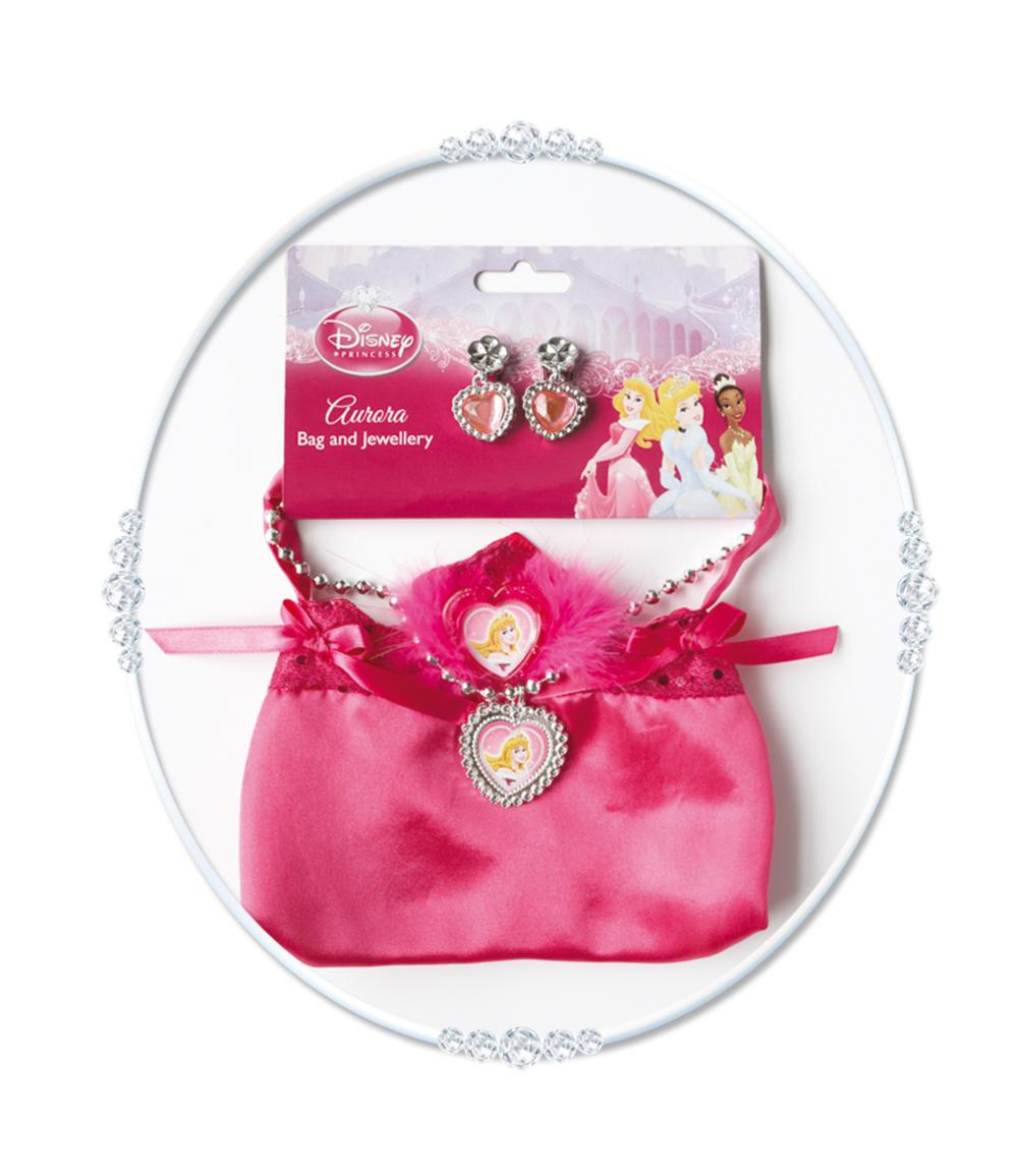 Girls Disney Sleeping Beauty Princess Bag and Jewellery Costume Set