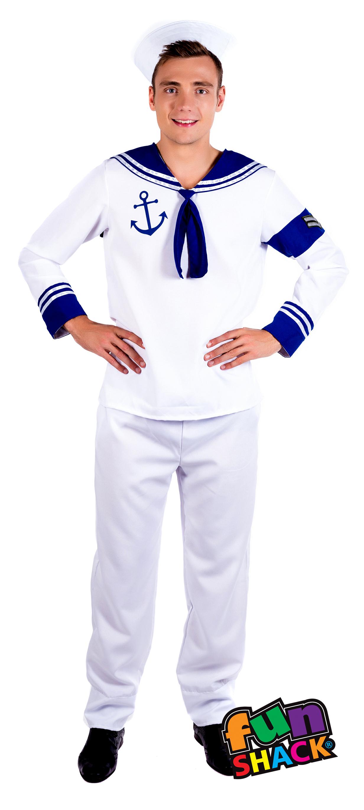 469d2129f6c Sailor Mens Fancy Dress Adult Captain Cadet Uniform Occupations Costume  Outfit