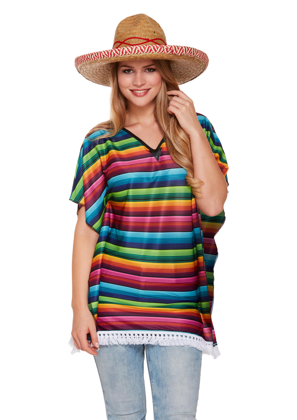 Ladies Rainbow Poncho