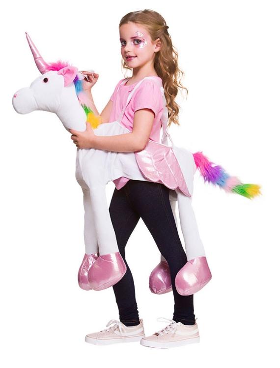 2cc28e1e7a7e Sentinel Ride On Rainbow Unicorn Girls Fancy Dress Fantasy Fairy Tale Kids  Costume Outfit