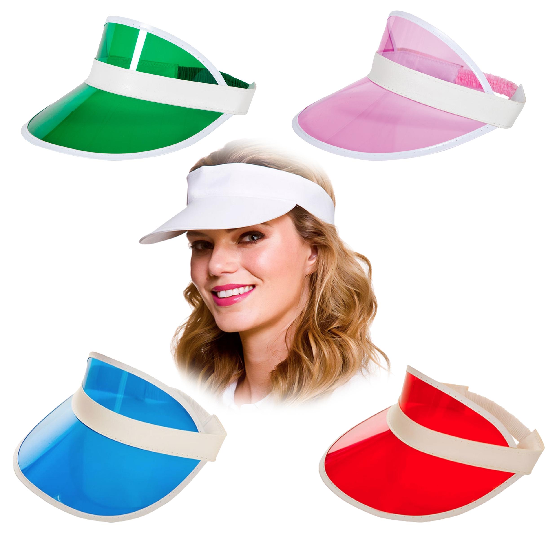 3fdf2909 Details about Pub Golf Visors Adults Fancy Dress 80s Neon Tennis Hat Unisex  Costume Accessory