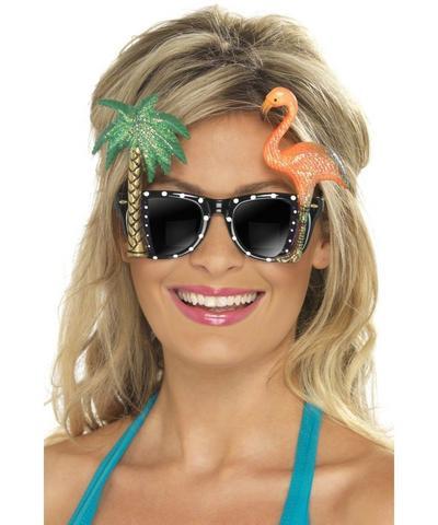 Hawaiian Black Flamingo and Palm Tree Sunglasses