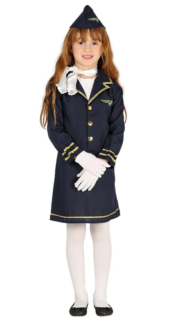 8c39366e4b6 Details about Stewardess Girls Fancy Dress Air Hostess Uniform Cabin Crew  Kids Costume Outfit