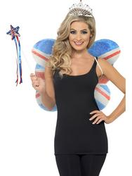 Union Jack Flag Wings, Wand and Tiara Accessory Set