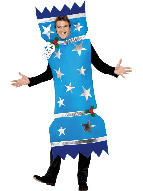 Christmas Fancy Dress Kids.Blue Christmas Cracker Adults Costume
