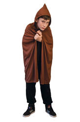 Brown Hooded Kids Cape