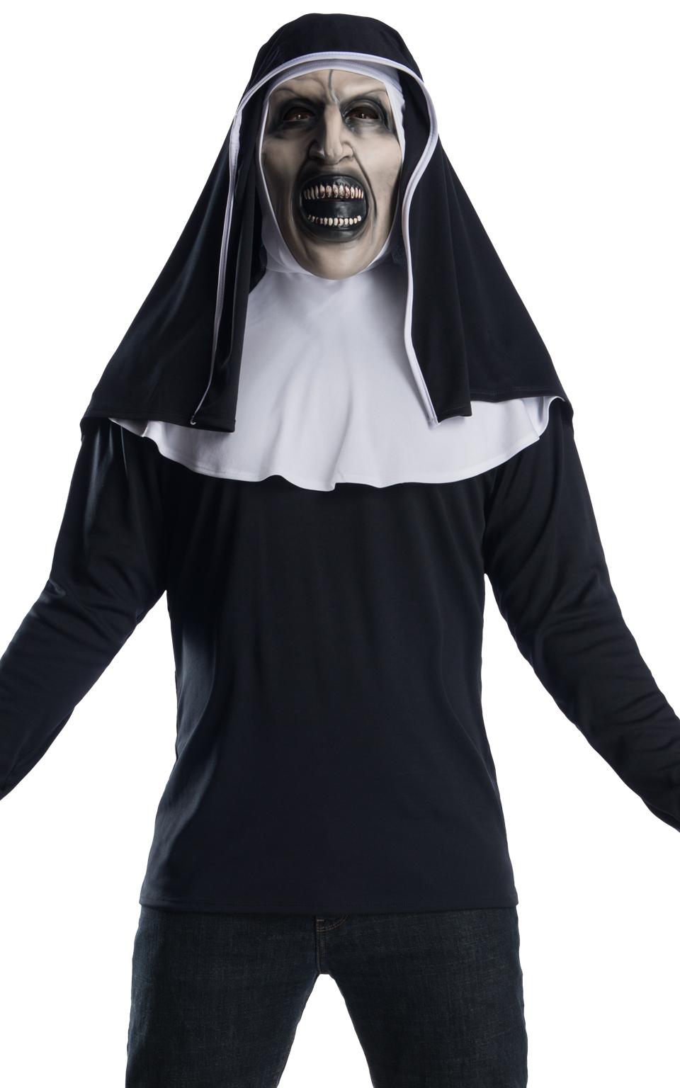 Mens White Black Evil Devil Hooded Latex Halloween Fancy Dress Costume Mask