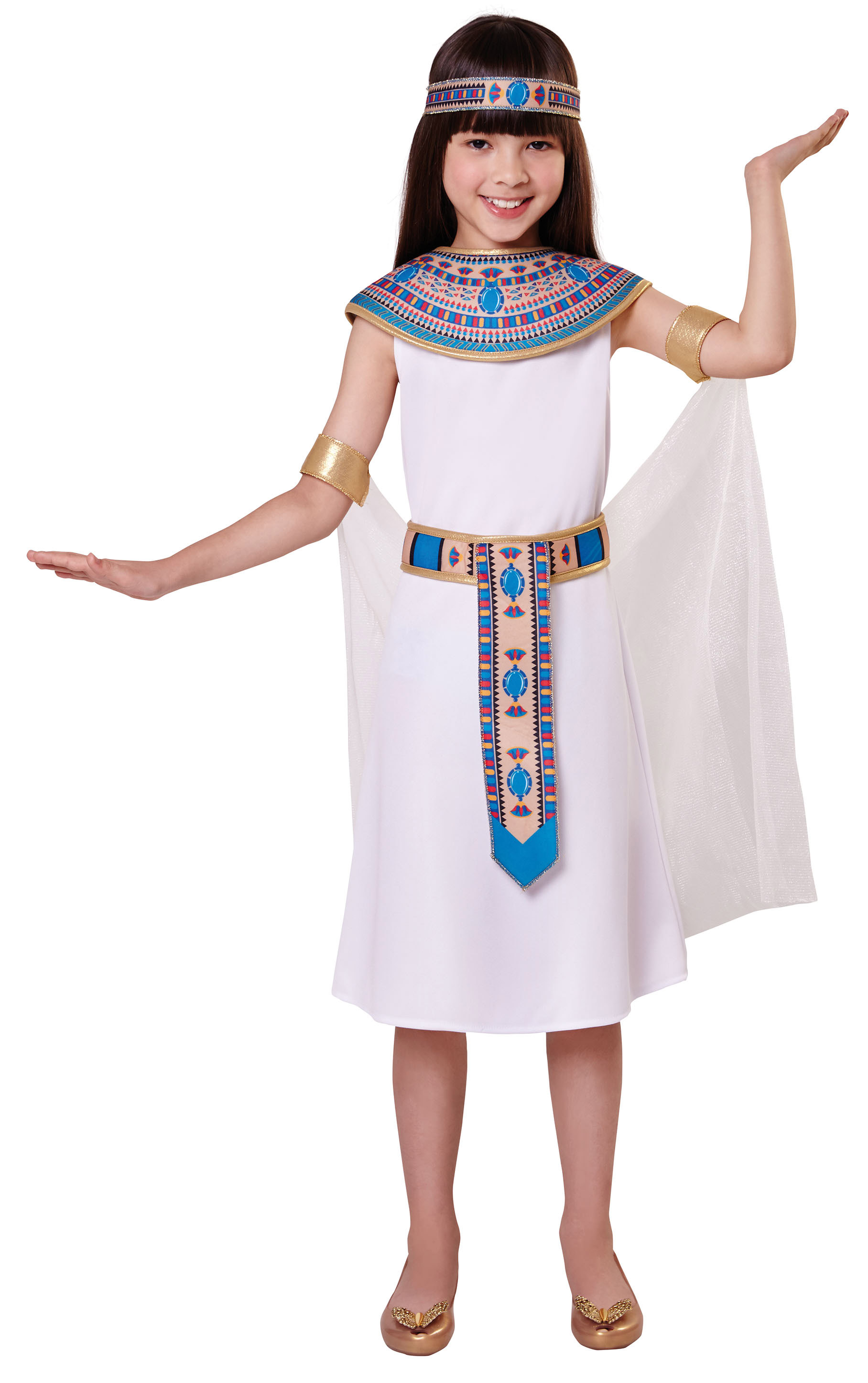 Egyptian Queen Girls Fancy Dress Cleopatra Ancient Egypt Kids Book Day Costume