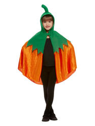 Kids Hooded Pumpkin Cape