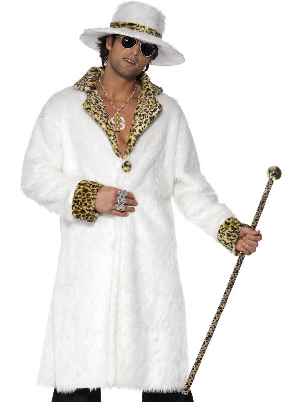 White Faux Fur Pimp Costume 70s Costumes Mega Fancy Dress