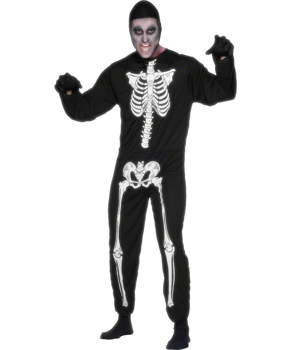 Hooded Skeleton Jumpsuit Costume