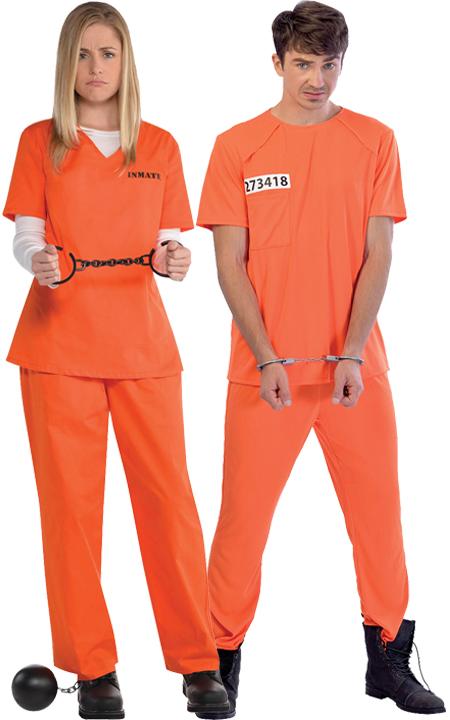 Convict Prisoner Mens Fancy Dress Inmate Robber Criminal Adults Uniform Costumes