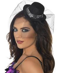 Black Sequin Mini Top Hat