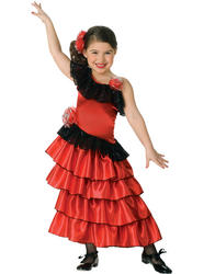 Girls Red Spanish Senorita Costume