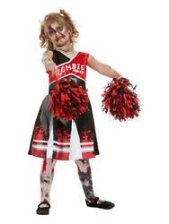 Zombie Cheerleader Girls Fancy Dress Costume