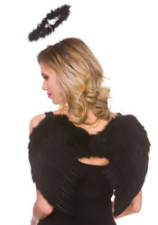 Black Feather Wings & Halo Set