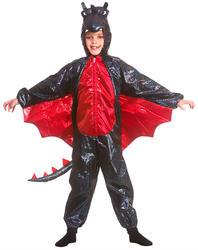 Deluxe Black Metallic Dragon Kids Costume