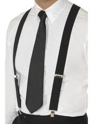 Black Gangster 20s Braces Costume
