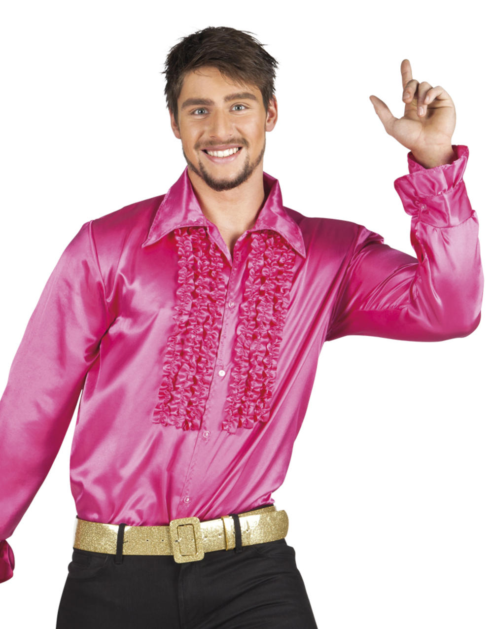 Mens Hot Pink Party Shirt