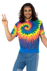 60s Tie Dye T-Shirt Mens Fancy Dress 70s Groovy Hippy Hippie Adults Costume Top