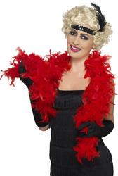 20s Flapper Red Feather Boa Costume Accessory