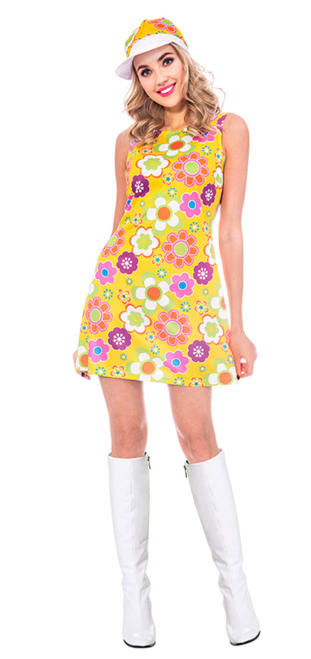 60s Flower Power Ladies Fancy Dress 1960s Peace Hippie Adults Costume Outfit