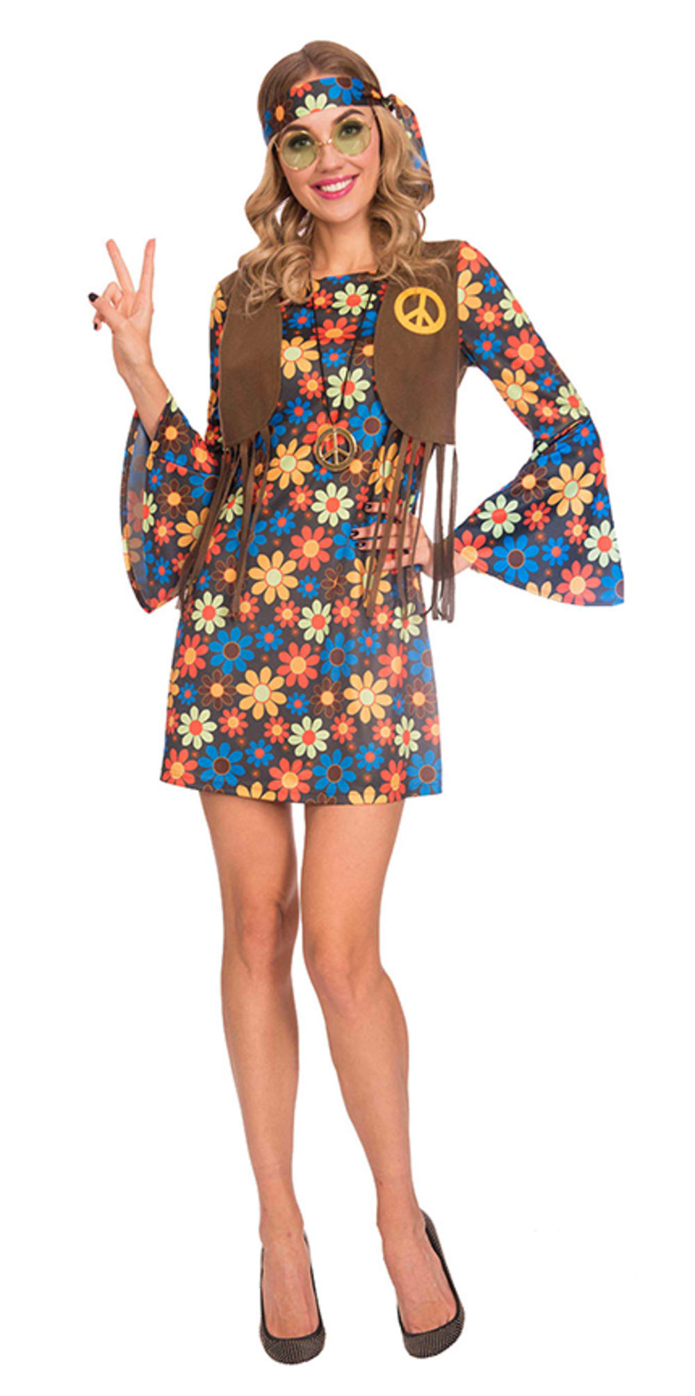 60s Groovy Hippy Woman Ladies Fancy Dress 1960s Hippie Adults Costume Outfit New