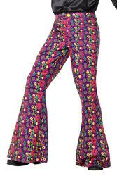 60s Psychedelic CND Flared Trousers Mens Fancy Dress Peace Adults Costume Pants
