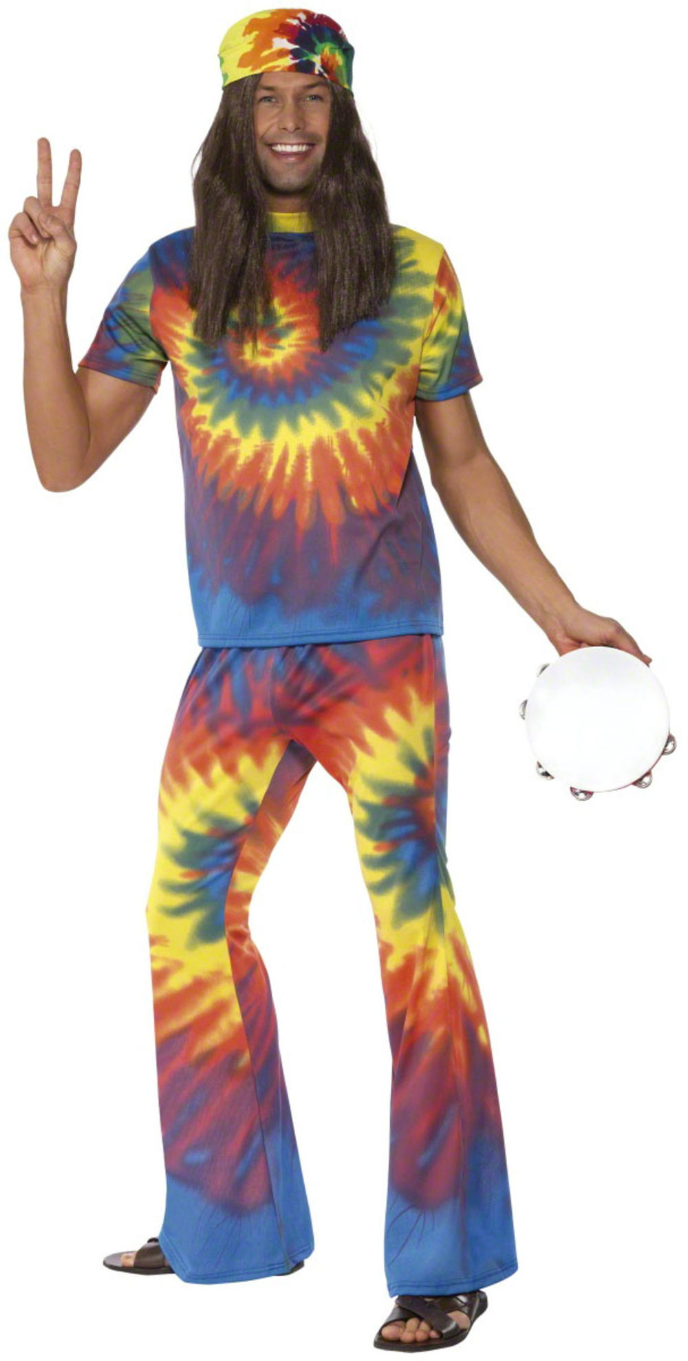 Tie Tye Hippie Top + Flares Mens Fancy Dress 1960s Hippy Adults Costume Outfit