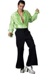 Black 1970s Flares Mens Fancy Dress Disco Hippy Party Adult Costume Trousers New
