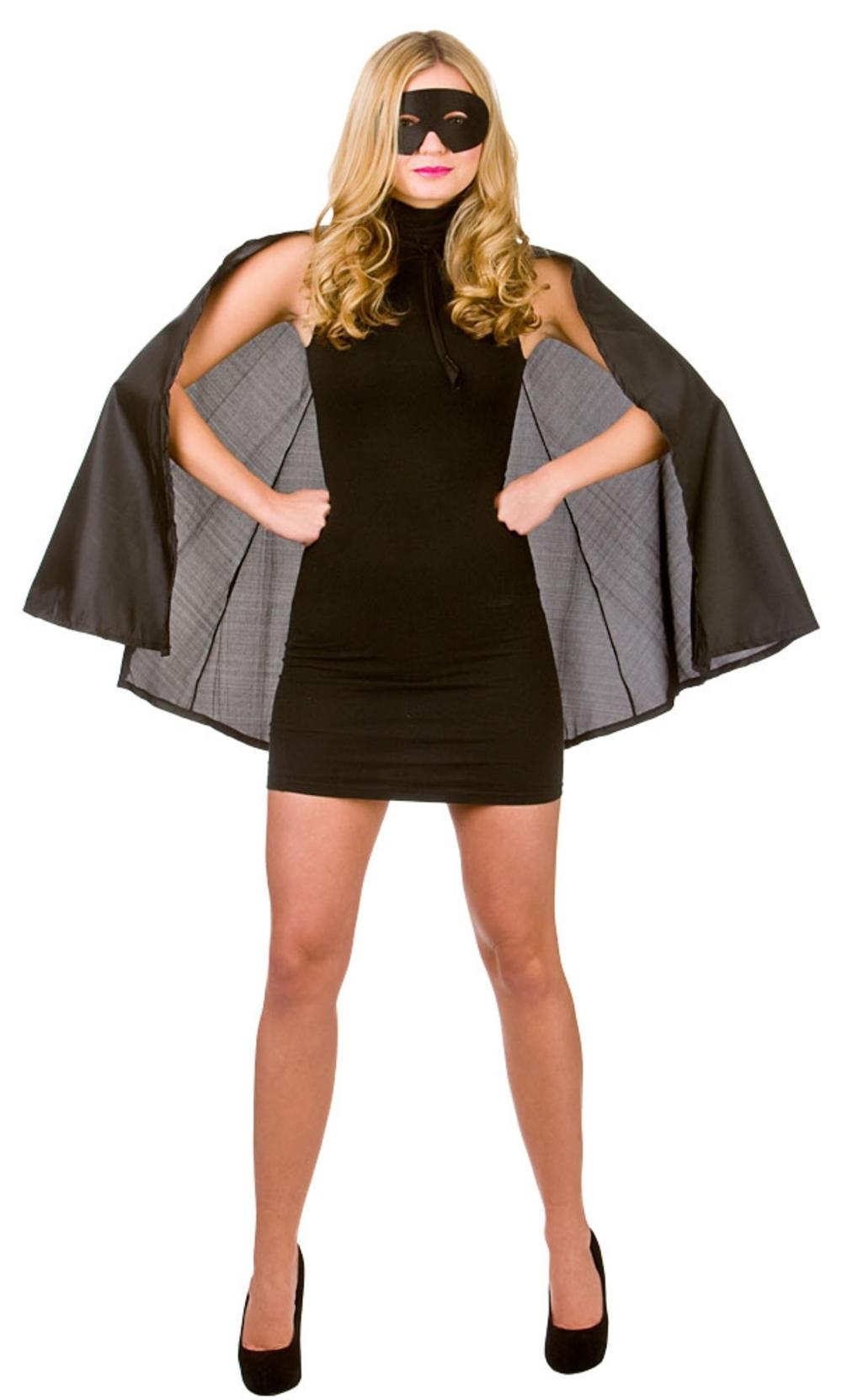 Adults Black Superhero Cape & Mask Costume Accessory