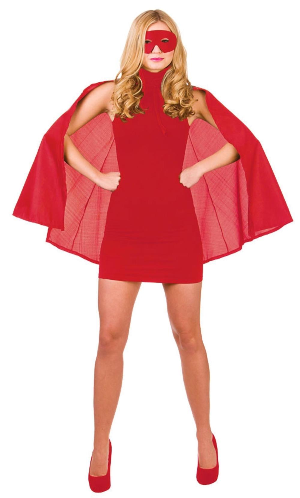 Adults Red Superhero Cape & Mask Costume Accessory