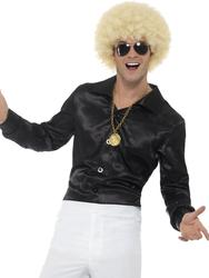 Black 60s Shirt Mens 70s Fancy Dress Groovy Disco Retro Adult Costume Accessory