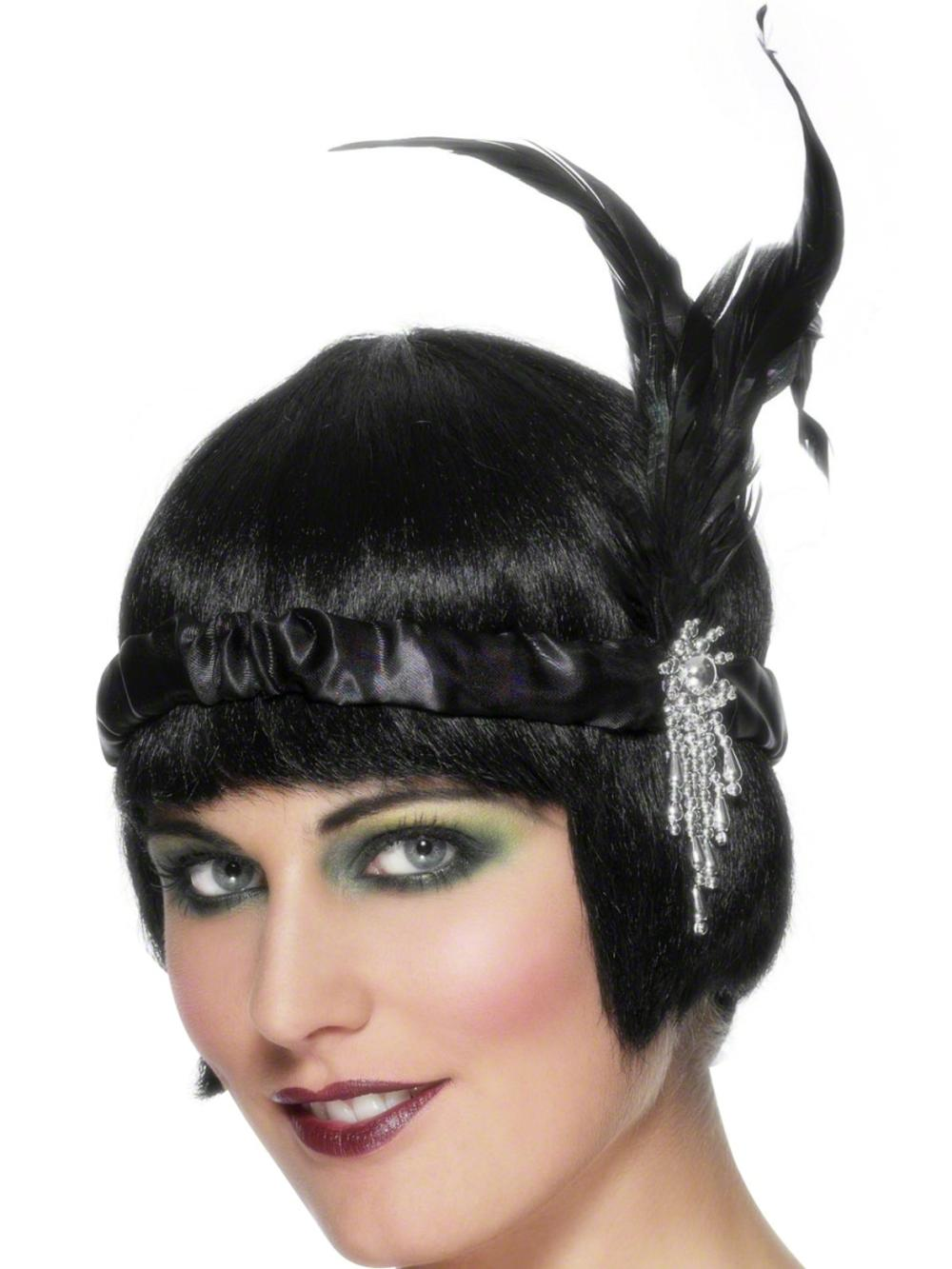 Black Satin Charleston Headband Costume Accessory