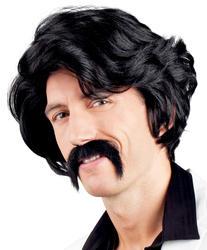 Black Wig & Moustache Costume Accessory