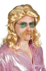 Blonde 70s Wig with Moustache Costume Accessory