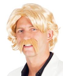 Blonde Wig & Moustache Costume Accessory