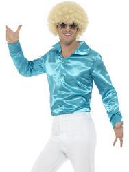 Blue 60s Shirt Retro Mens Fancy Dress Groovy 70s Disco Adult Costume Accessory