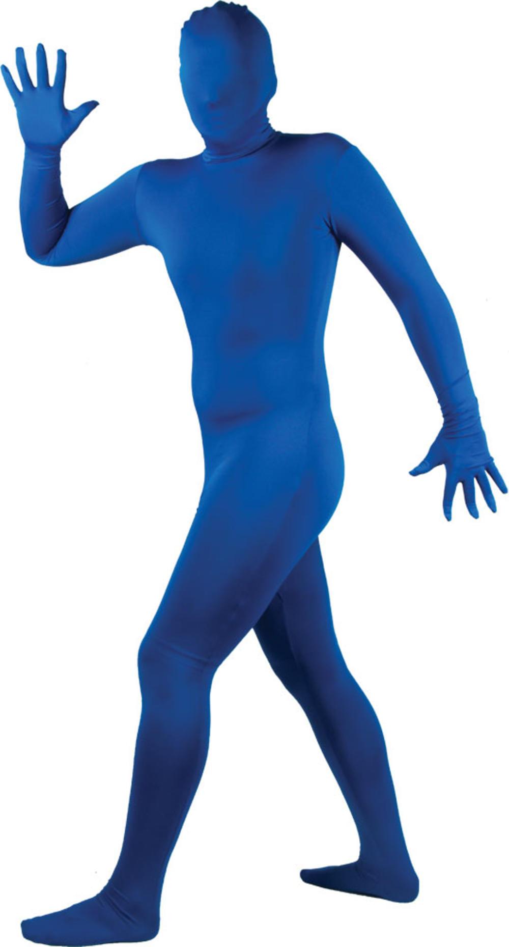 Blue Bodysuit Skinz Lycra Fancy Dress Skin Suit Halloween Stag Costume