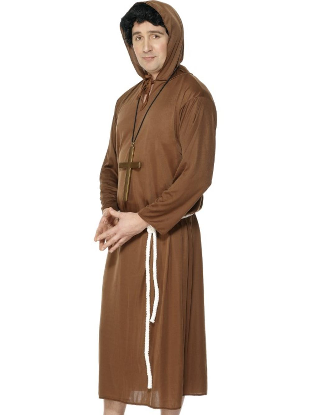 Monk Brown Robe Medieval Fancy Dress Mens Friar Tuck Adult Priest Costume Outfit