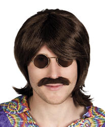 Brown Shag Wig with Moustache Costume Accessory