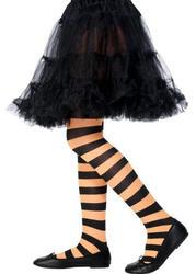 Child Black and Orange Striped Tights  Costume Accessory