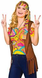 Cool Hippie Kit Ladies Fancy Dress Hippy 60s 70s Adults Womens Costume Set Acc