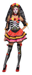 Day of the Dead Senorita Ladies Fancy Dress Halloween Womens Skeleton Costume