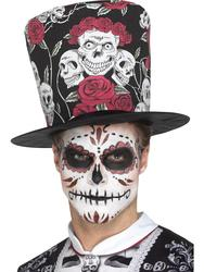 Day of the Dead Skull & Rose Top Hat Costume Accessory