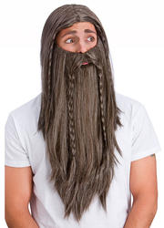 Deluxe Brown Wig and Long Beard Mens Accessory Costume Accessory