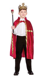 Deluxe Burgundy King /Queen Robe & Crown Set Kids Fancy Dress Girls Boys Costume