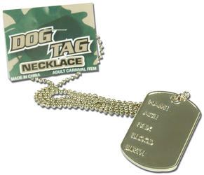 Dog Tag Necklace Costume Accessory